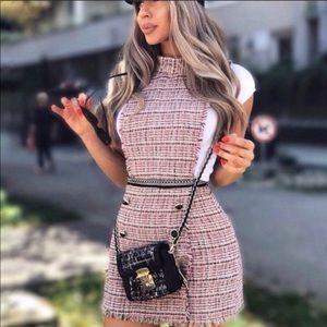 Zara tweed jumper dress bloggers favorite